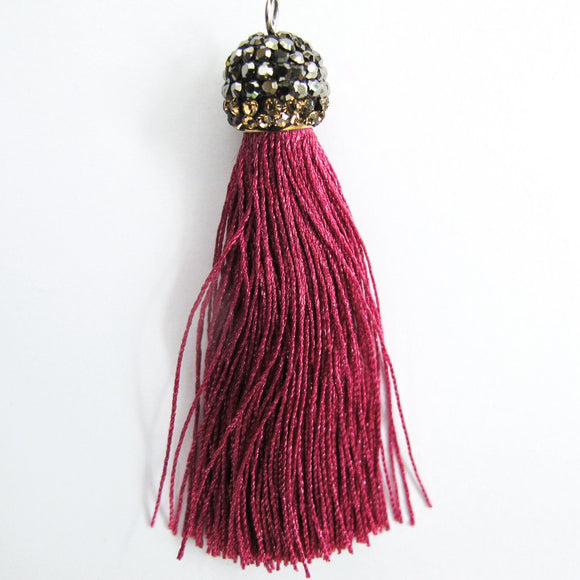 Thread 60mm hematite/fuchsia tassel 2pcs