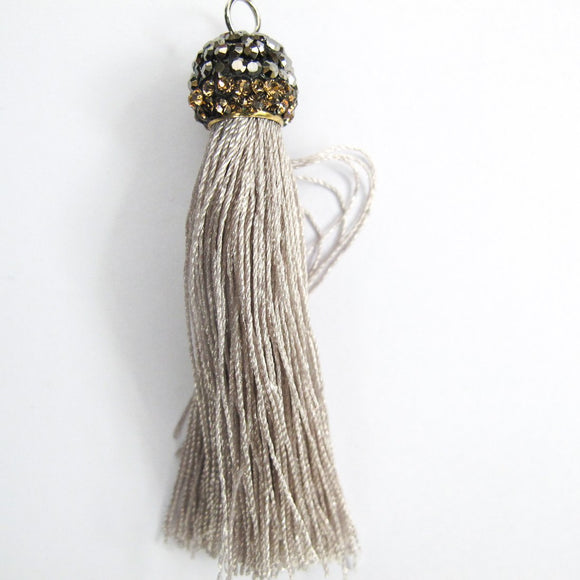 Thread 60mm hematite/grey tassel 2pcs
