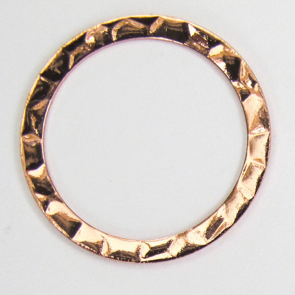 Metal 25mm ring hammered NF rR GLD 6p