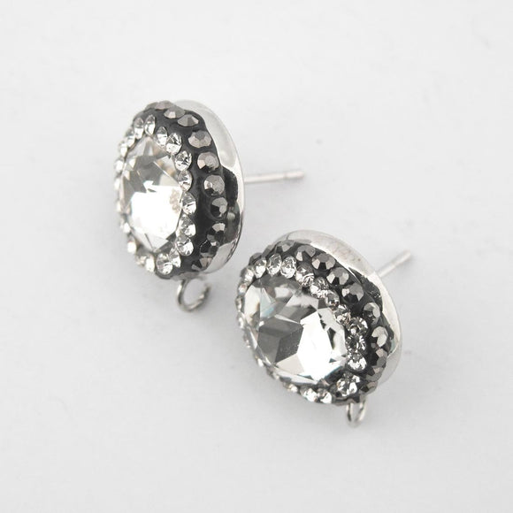 Metal 13mm E/R STUD NF clear nkl 2pc