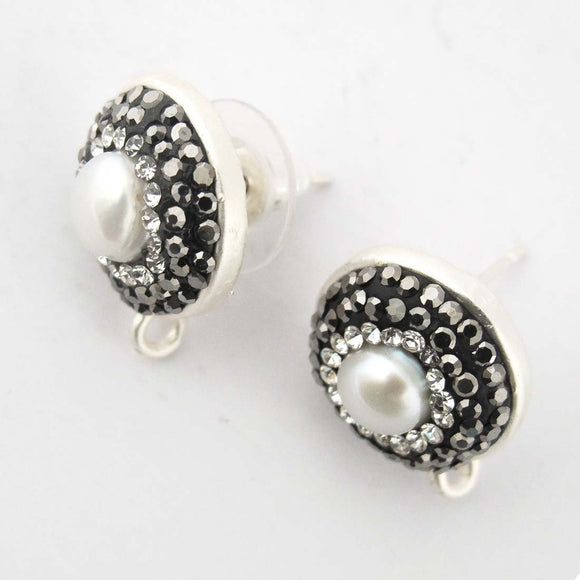Metal 13mm E/R STUD NF PEARL DIAM 2pc