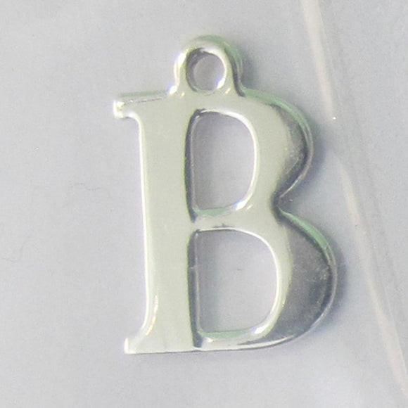 Sterling sil 12mm letter B 1pc
