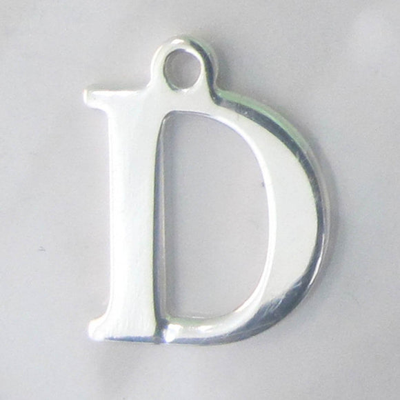 Sterling sil 12mm letter D 1pc