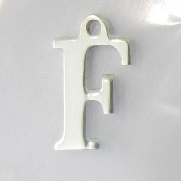 Sterling sil 12mm letter F 1pc