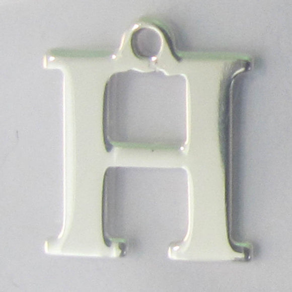 Sterling sil 12mm letter H 1pc
