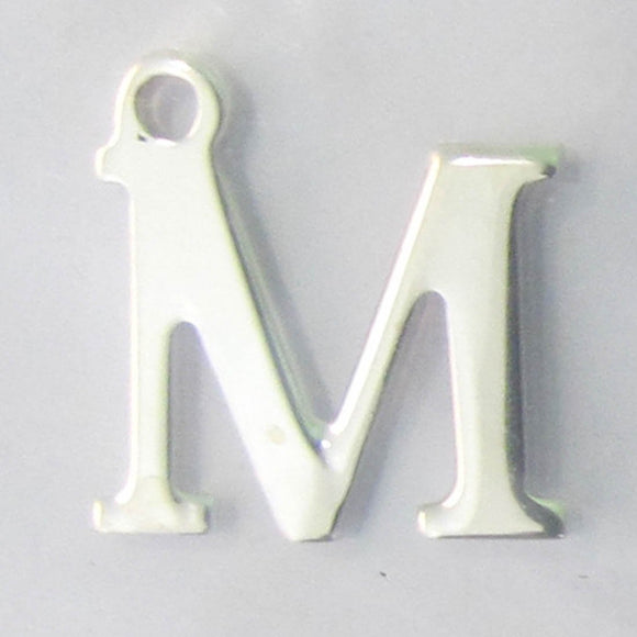 Sterling sil 12mm letter M 1pc