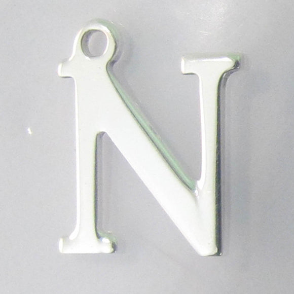 Sterling sil 12mm letter N 1pc