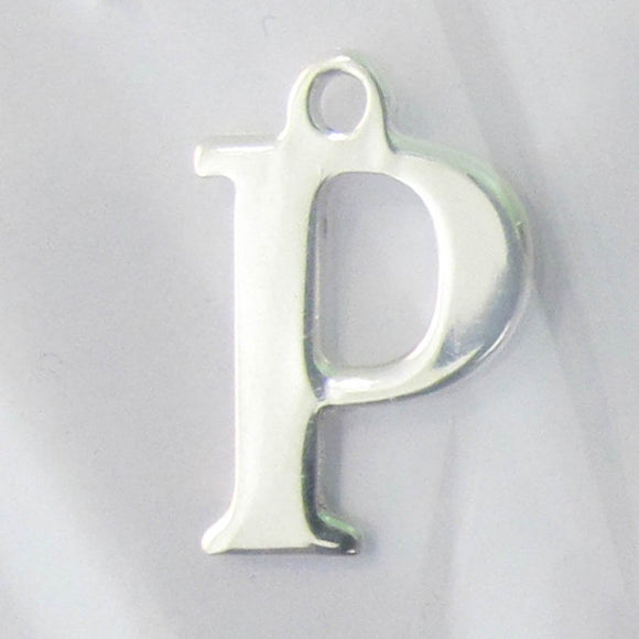 Sterling sil 12mm letter P 1pc
