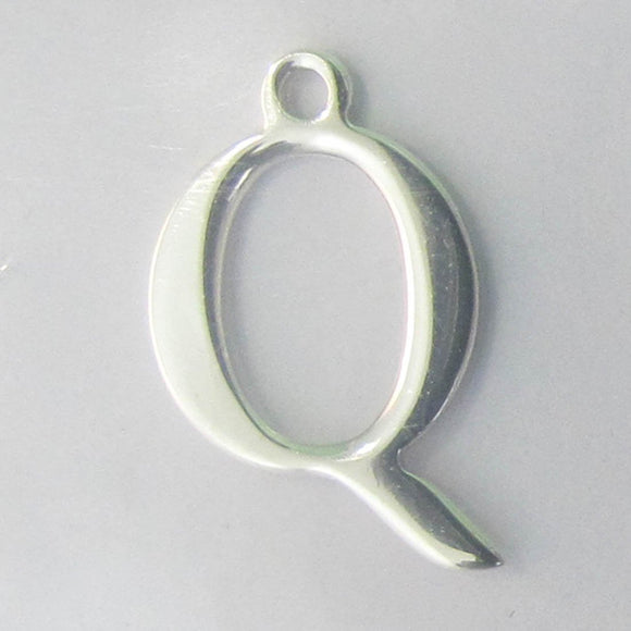 Sterling sil 12mm letter Q 1pc