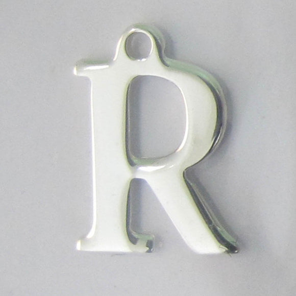 Sterling sil 12mm letter R 1pc