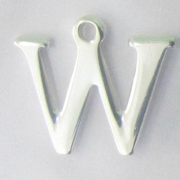 Sterling sil 12mm letter W 1pc