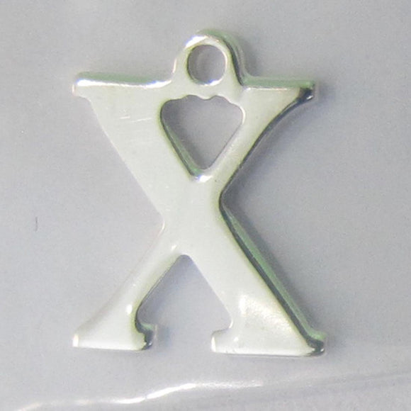 Sterling sil 12mm letter X 1pc