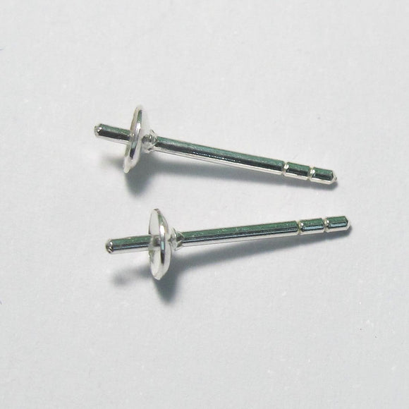 Sterling sil 4mm stud cup/pin 4pcs