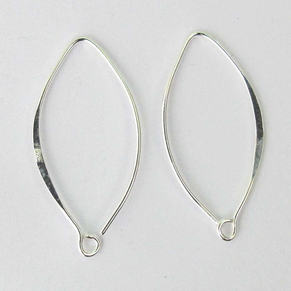 Sterling sil 25mm oval hook 2pcs
