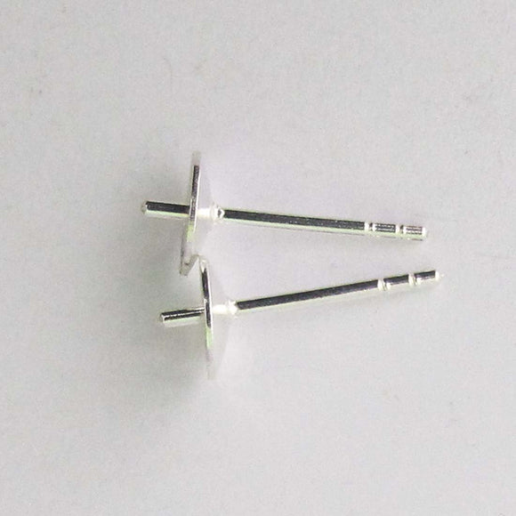Sterling sil 6mm ER stud cup/stem 2pcs