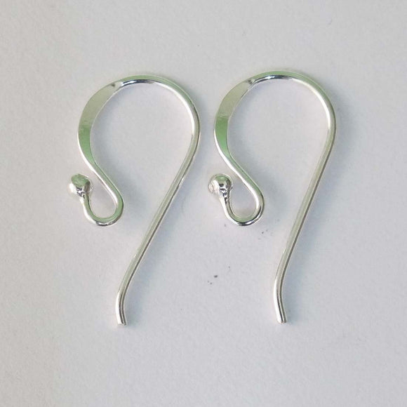 Sterling sil 20mm earring hook 4pcs