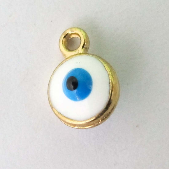 Metal 6mm evil eye drop NF GLD 10pcs