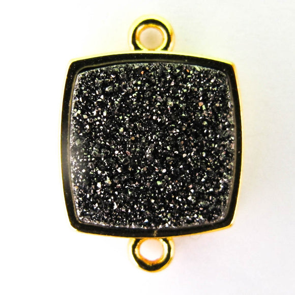 Metal 14x14mm drusy connect hem/gld 2p