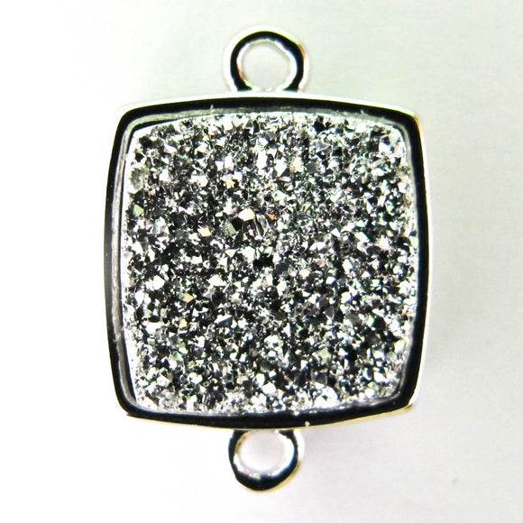 Metal 14x14mm drusy connect cry//nkl 2p