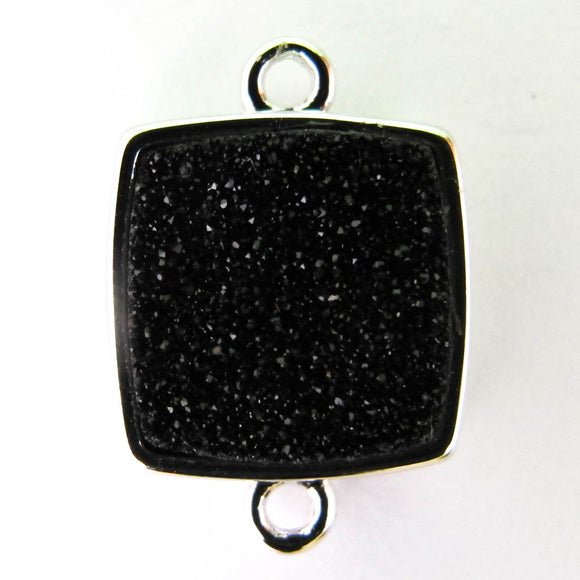 Metal 14x14mm drusy connect blk/nkl 2p
