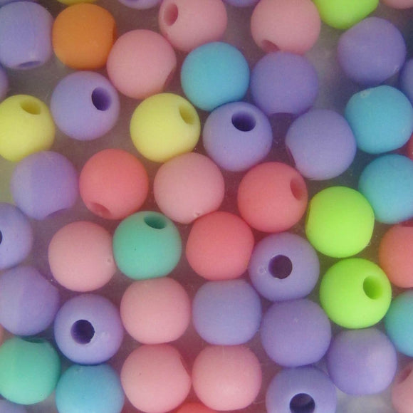 plas 4mm rnd 1.2mm hole mix pastel 200p