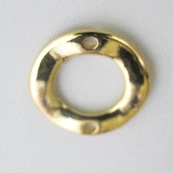 Metal 19mm donut wave 2 hole NF GOLD 4pc