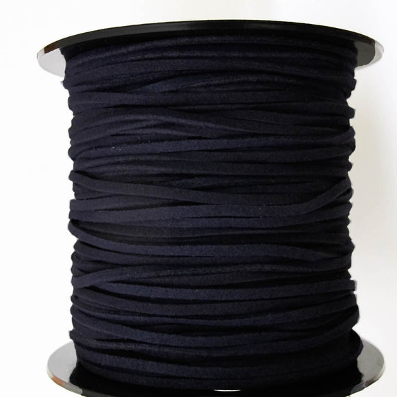 Faux suede 3mm flat navy 80 metres