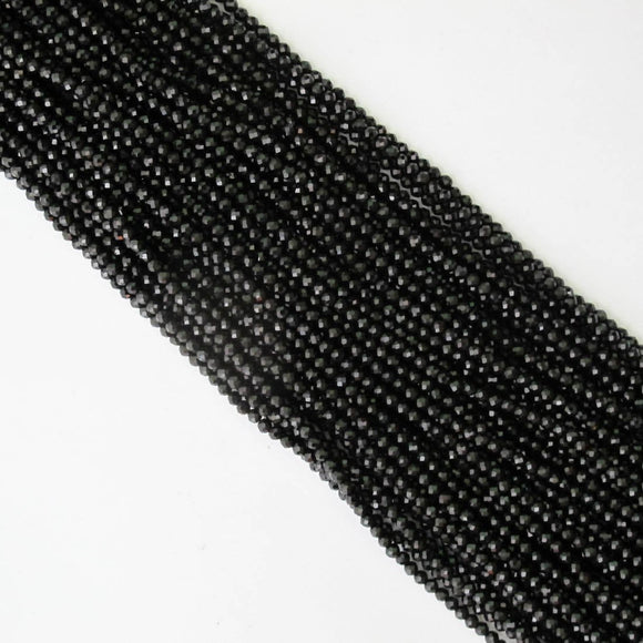 Semi prec 3mm rnd faceted obsidian 120+