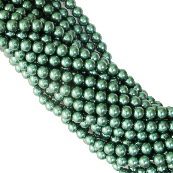 Cg 8mm rnd pearl XMAS GREEN 47pcs