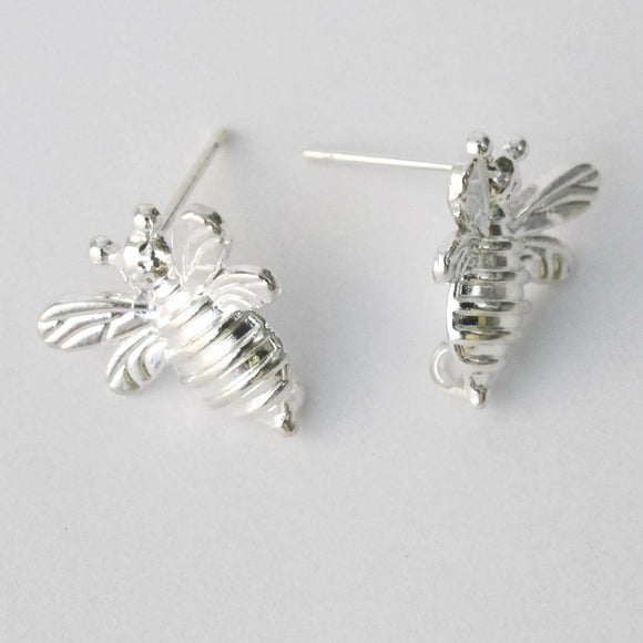 Metal 15mm bee studs/loop SIL NF 6pc