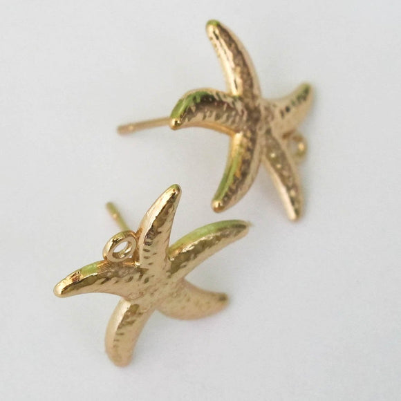 Metal 15mm star fish stud/loop NF GLD 6p