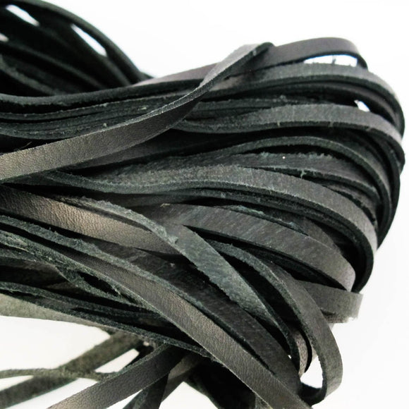 Leather 3mm flat black 10metres