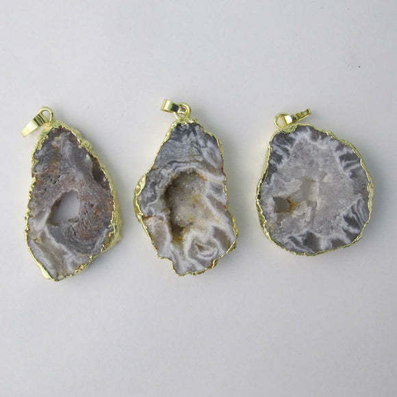 Semi prec 50mm pendant Agate gold 1pc