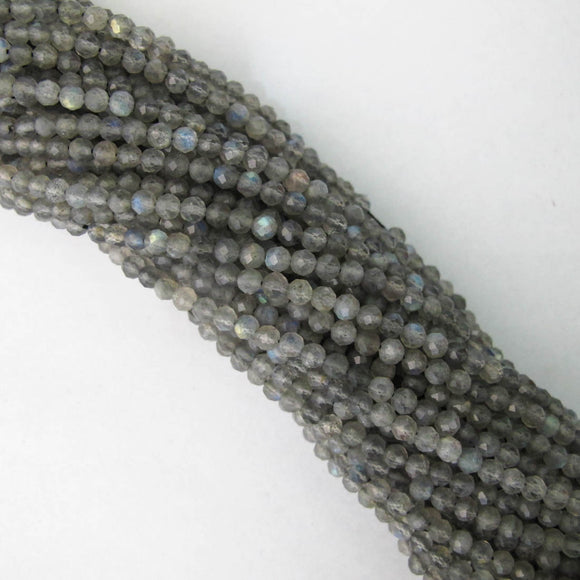 Semi prec 3.5mm faceted grey labadorite 105p