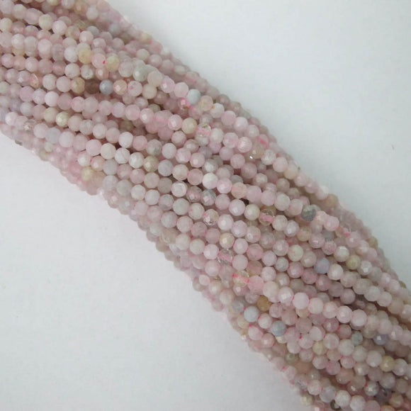 Semi prec 3mm rnd faceted Morganite 120p
