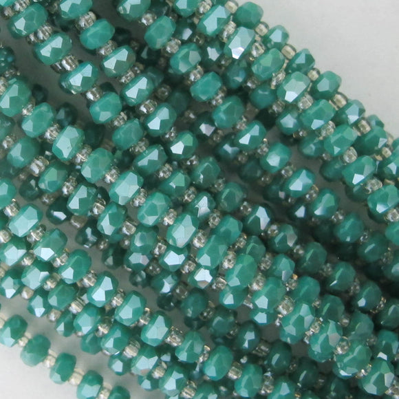 Cg 3x4mm facetd rondel TEAL 48p