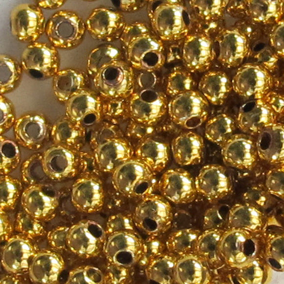 Metal 3mm rnd 1mm hole HQ NF GOLD 100pcs