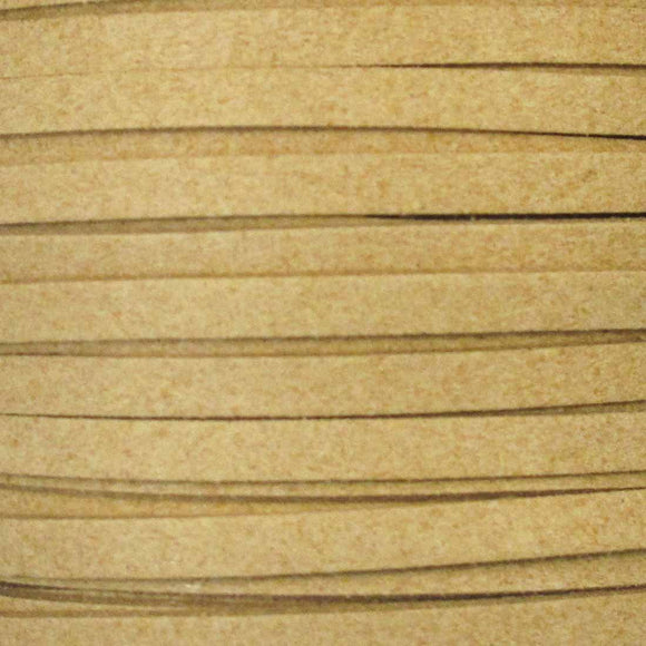 Faux suede 5mm flat camel 2metres