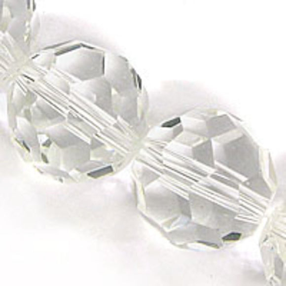 Cg 14mm rnd faceted trns clear 25pcs
