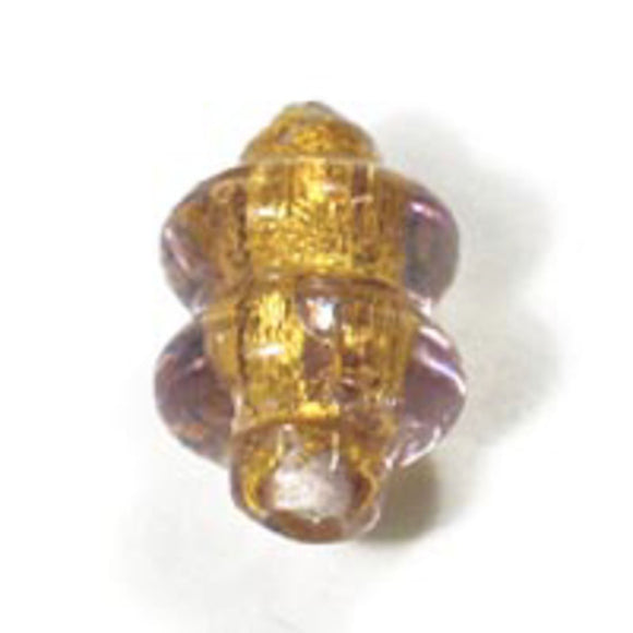 Cz h/made 13x9mm twist gold amethyst 2p