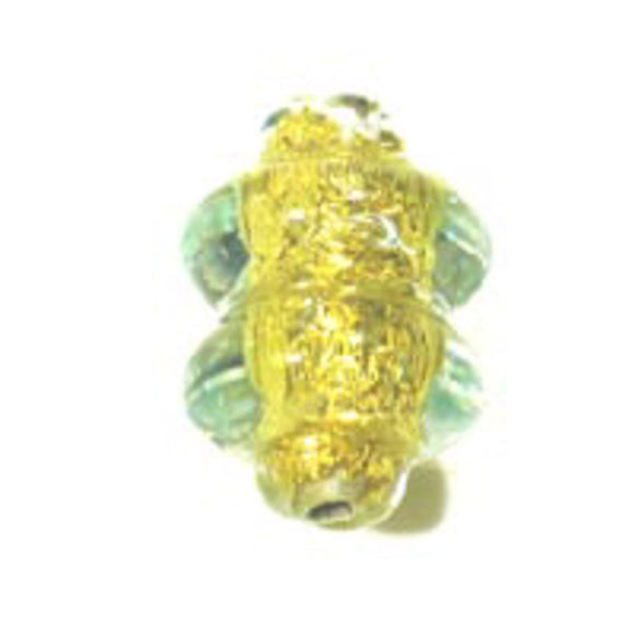 Cz h/made 13x9mm twist gold lime 2pc