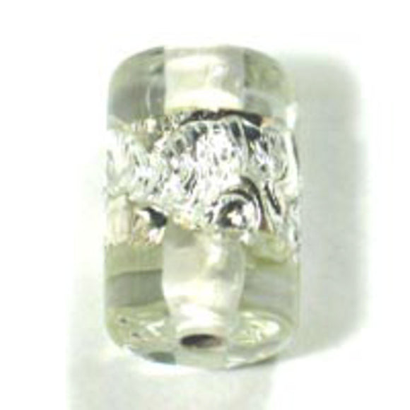 Cz h/made 12x8mm tube silver clear 2pcs