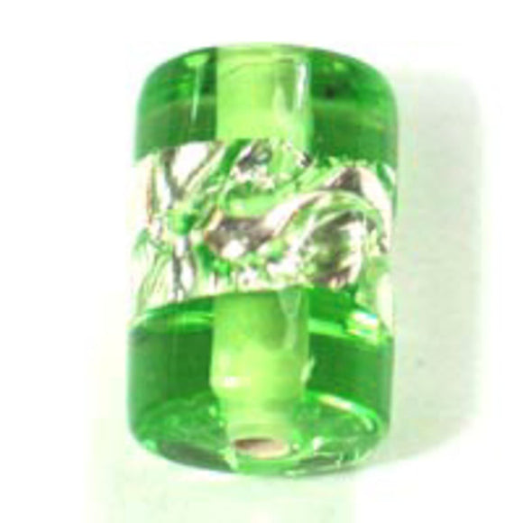 Cz h/made 12x8mm tube silver lime 2pcs