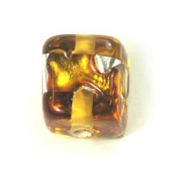 Cz h/made 8x8mm cube silver amber 2pcs