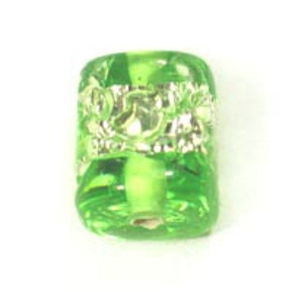 Cz h/made 8x8mm cube silver lime 2pcs