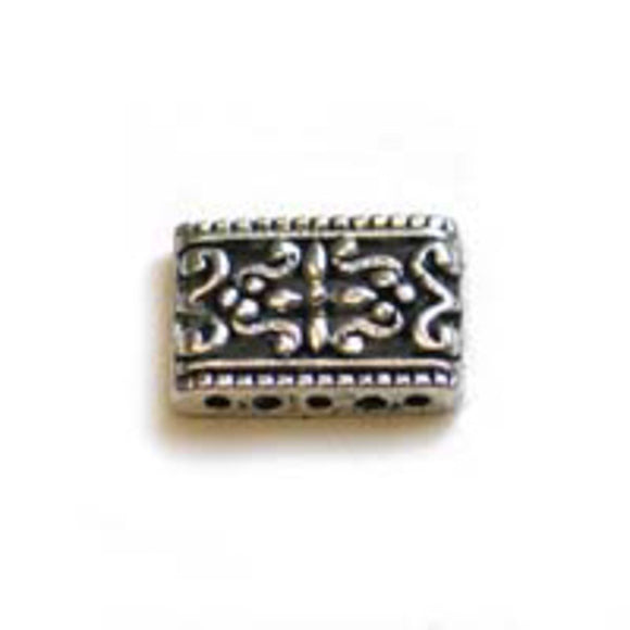 Met12x17mm ornate rectangle a/sil 24pcs
