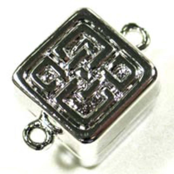 Metal 13mm square rhodium magntic clp 1p