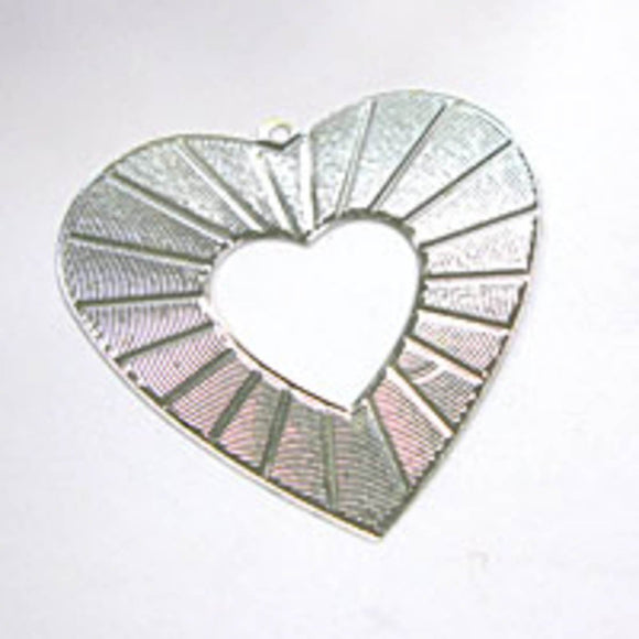 RUNOUT 45mm sunray heart silver 12p NFD