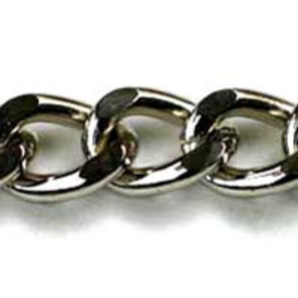 Metal chain 15x10 curblink nickel 1m