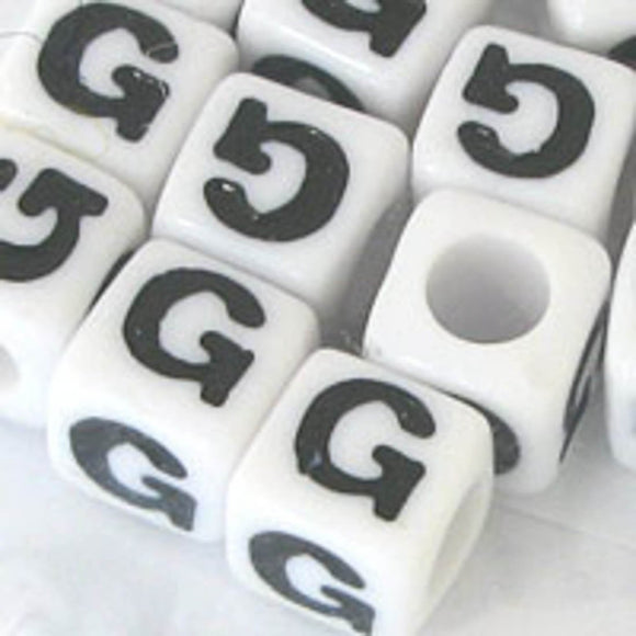 Plas 7mm cube black/white letter G 20pcs